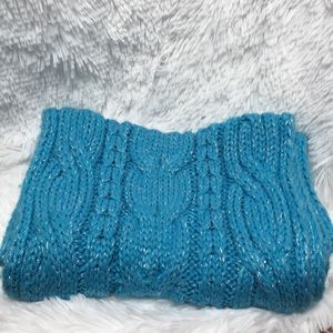 Turquoise and Silver Infinity Cableknit Scarf
